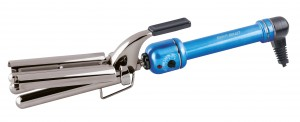 Silver Bullet Blue Titanium Triple Barrel Curling Iron from i-glamour.com