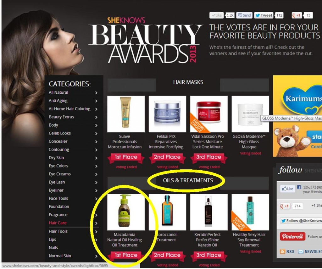 The highest number of votes in each category wins the selected product at the She Knows Beauty Awards