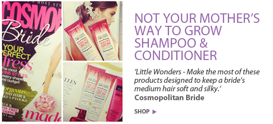 'Little Wonders - Make the most of these products designed to keep a bride's medium hair soft and silky.' Cosmopolitan Bride