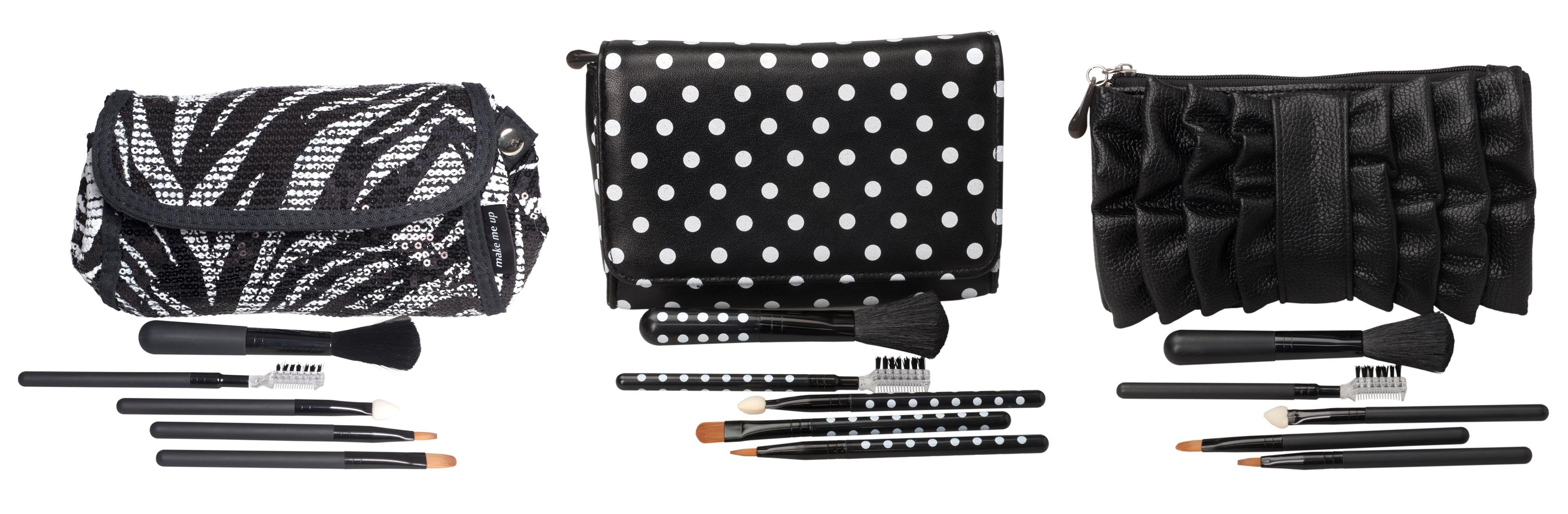 Make Me Up Polka Dot Makeup Purse and Brush Sets from i-Glamour