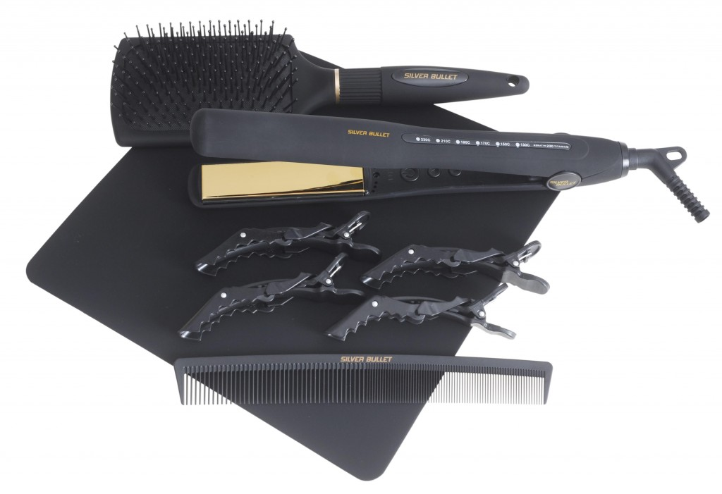 Silver Bullet Gold Hair Straightener with hair accessories