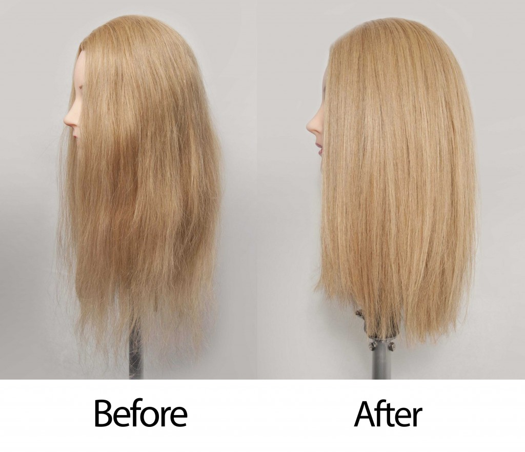 Before and after using the Silver Bullet Fastlane Hair Straightener