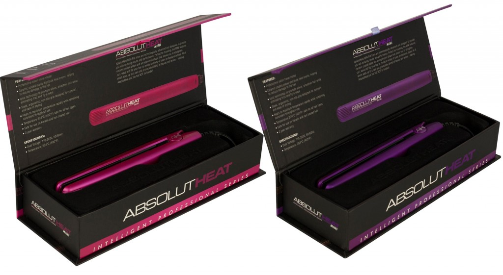 Absolute Heat Mini Hair Straighteners in pink and purple