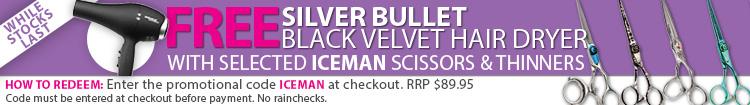 Iceman Promotion - Free Silver Bullet Black Velvet Hair Dryer